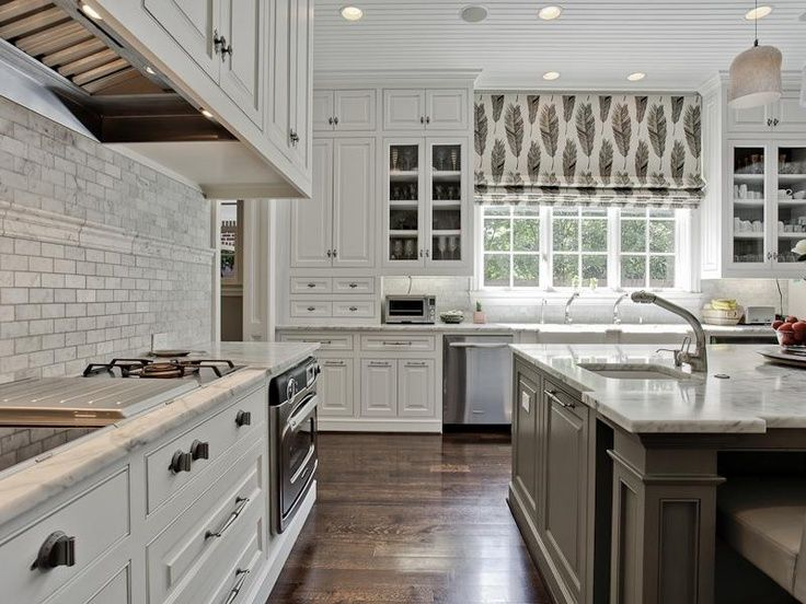 white and grey kitchen with beadboard ceiling two toned kitchen cabinetry hardwoo white on kitchen cabinets grey and white id=79245
