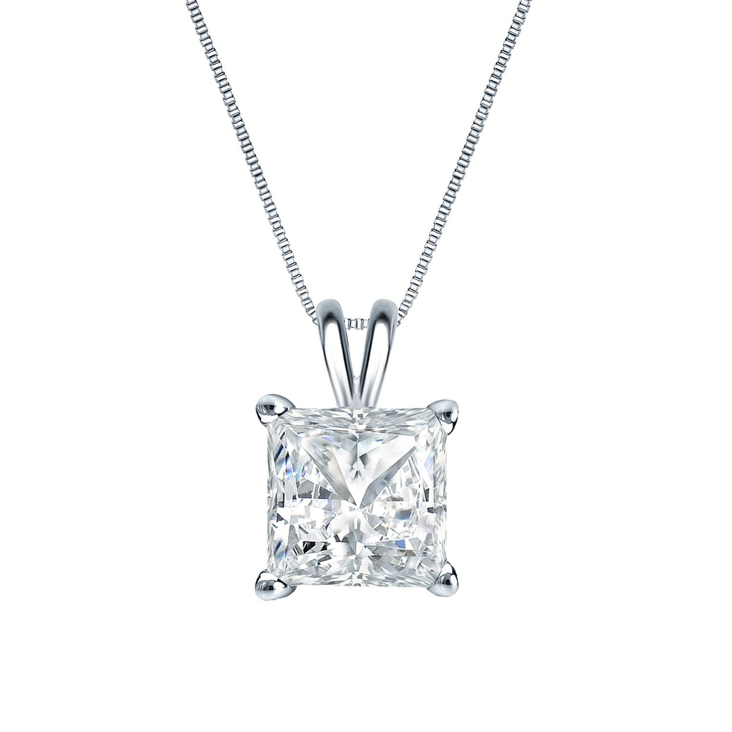 Auriya 14k Gold 3 4ct TDW Princess Cut Diamond Solitaire Necklace