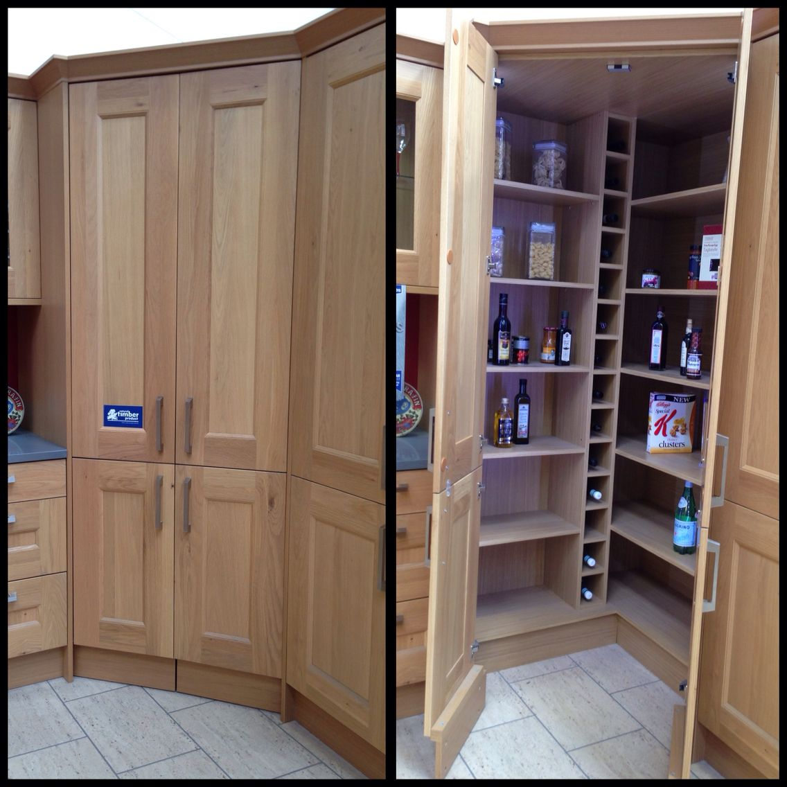 Walk In Corner Pantry With Wine Rack And Automatic Led