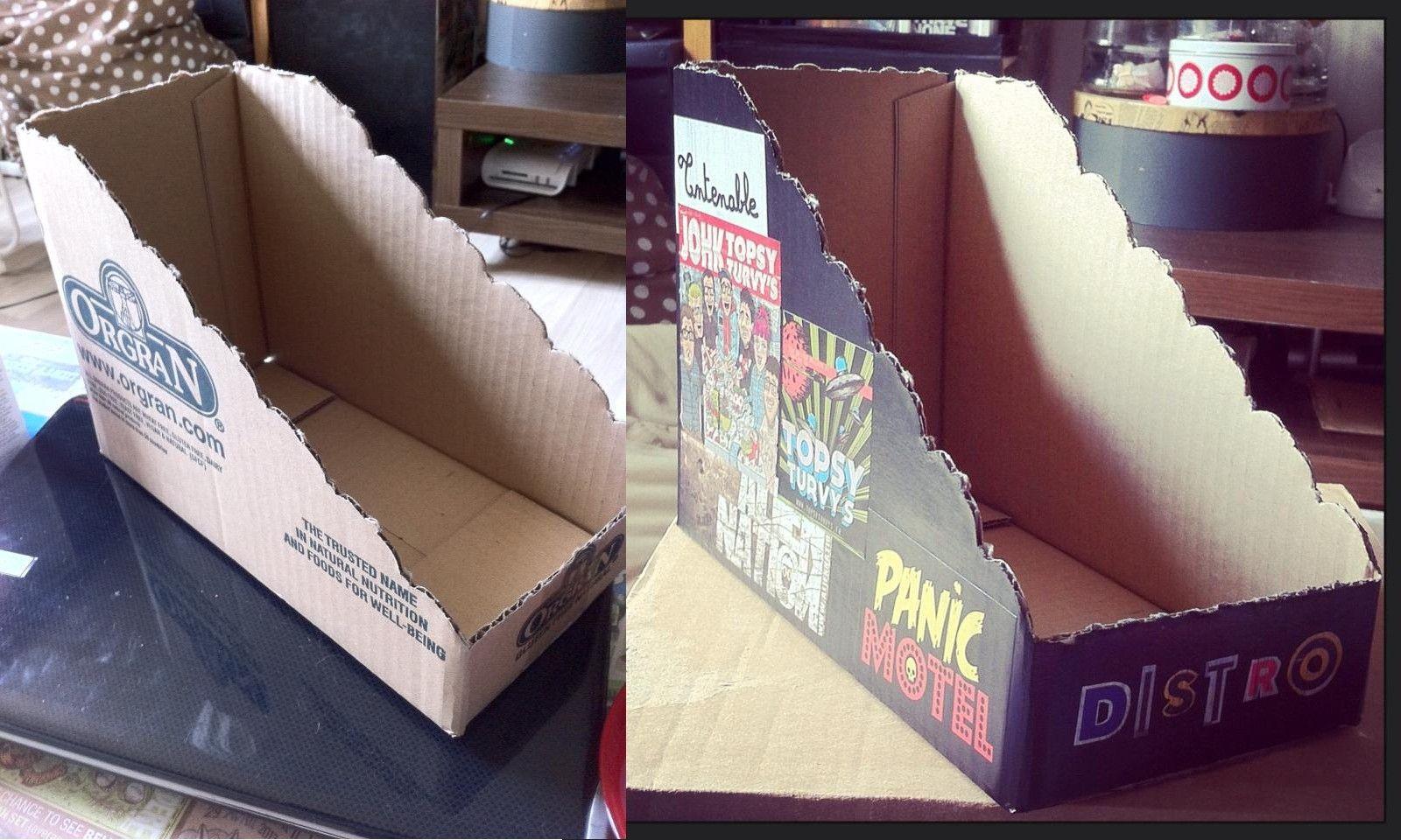 Présentoir En Carton Fait Main Peinture Papier Vernis Colle