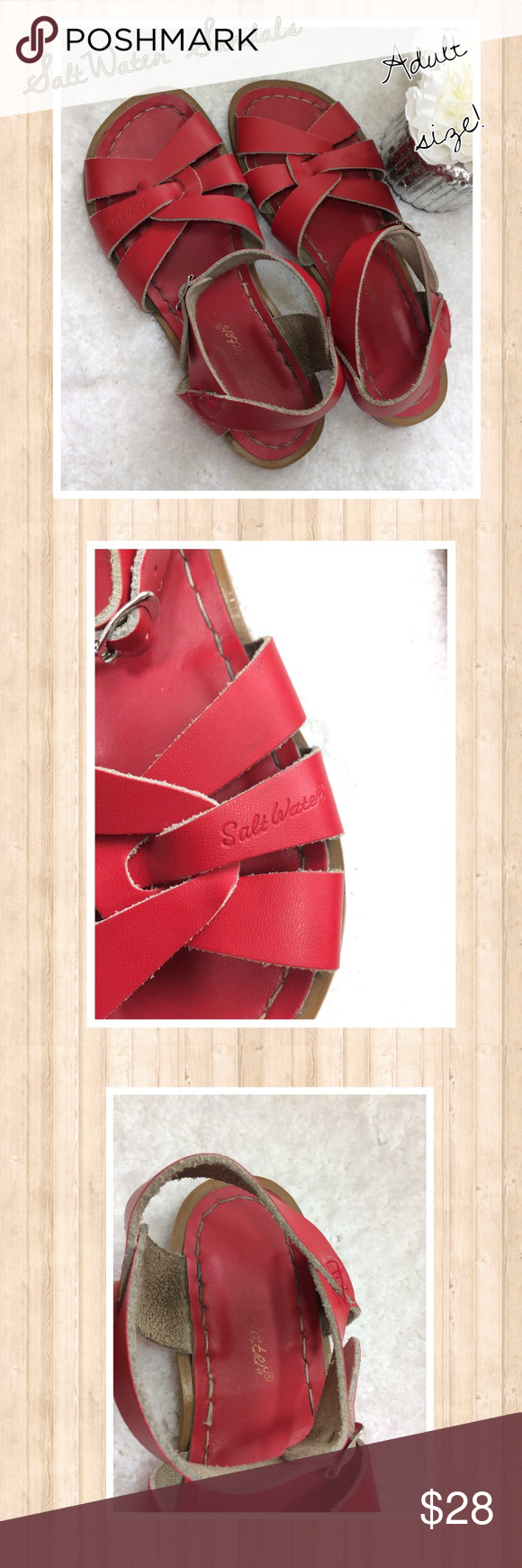 Red Adult size Salt Water Sandals So cute and ready for Summer! Nice preowned condition. Size 4 or women's 7. Leather uppers. Washable. Non smoking home. Salt Water Sandals by Hoy Shoes Sandals