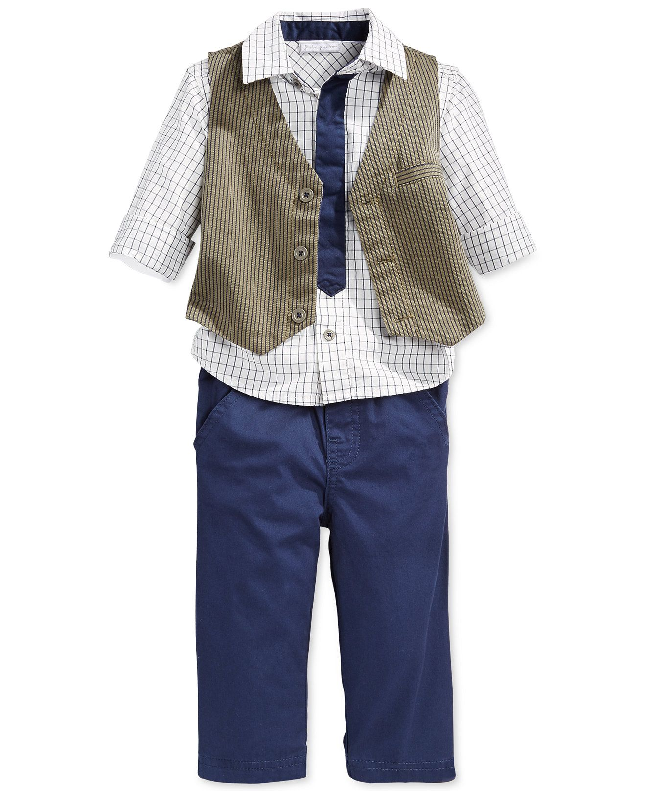 35e8a94843d3 First Impressions Baby Boys' 3-Piece Checkered Shirt, Vest & Pants Set,  Only at Macy's - Sets - Kids & Baby - Macy's