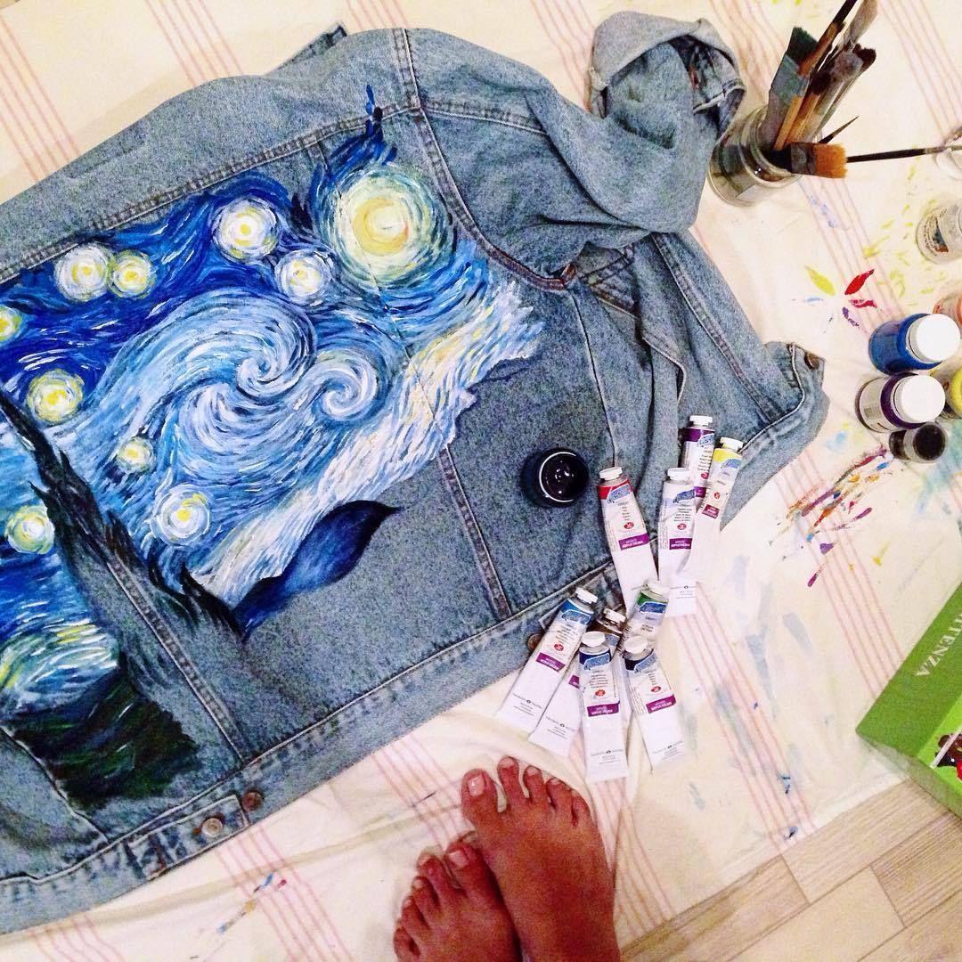 рисунок на джинсовой куртке акриловыми красками обилие
