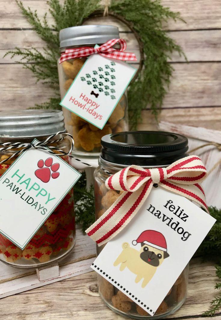 Holiday dog treat jars with free printables dog treat