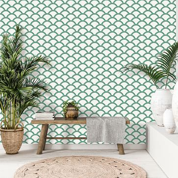 Tempaper Mosaic Scallop Removable Wallpaper In 2020 Removable Wallpaper Living Room Wall Stikwood Adhesive Wood Paneling
