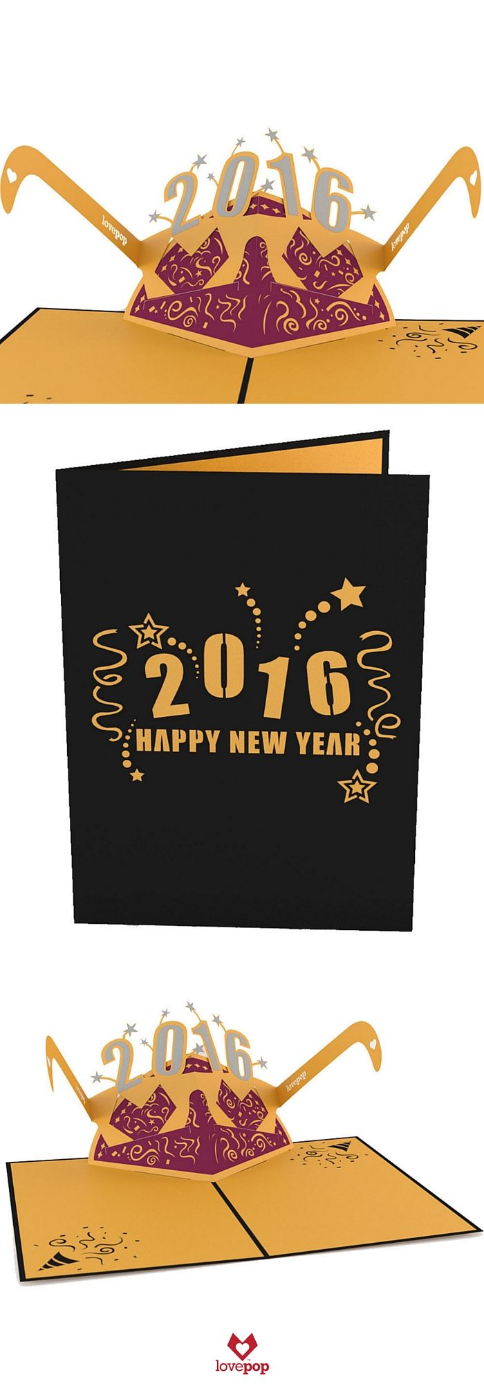Say Happy New Year with this fun pop up card and removable