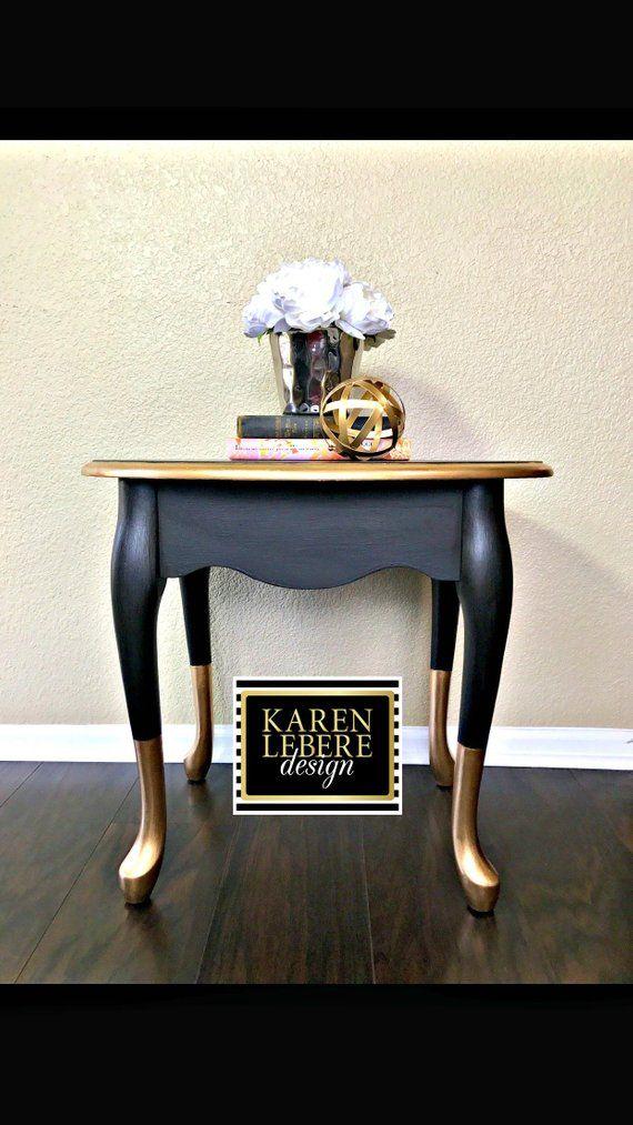 Or Noir Table De Chevet Table Fin Table D Appoint Relooking De
