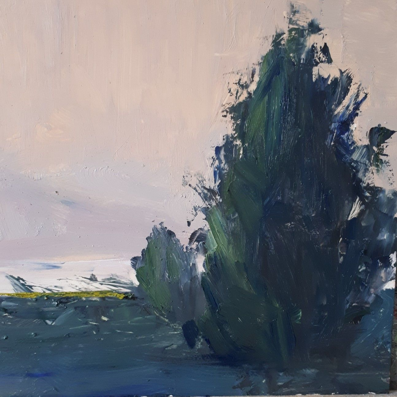 First light oil on clayboard 6 x 6 ins