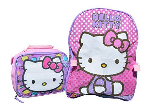 774e855031 Sanrio Hello Kitty 15 Backpack and Lunch Box Combo Kit (Hello Kitty Pink  Sparkle)