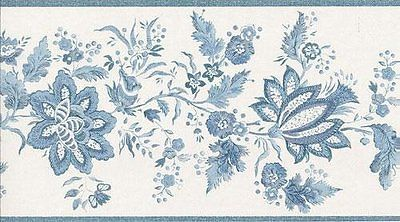 Fresh Blue and White Jacobean Wallpaper Border Wallpaper