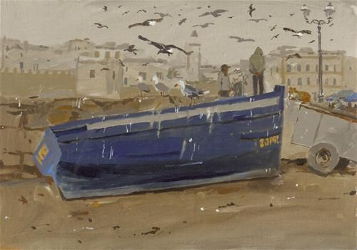"Daily Paintworks - ""Gulls at Essaouira"" - Original Fine Art for Sale - © Haidee-Jo Summers"