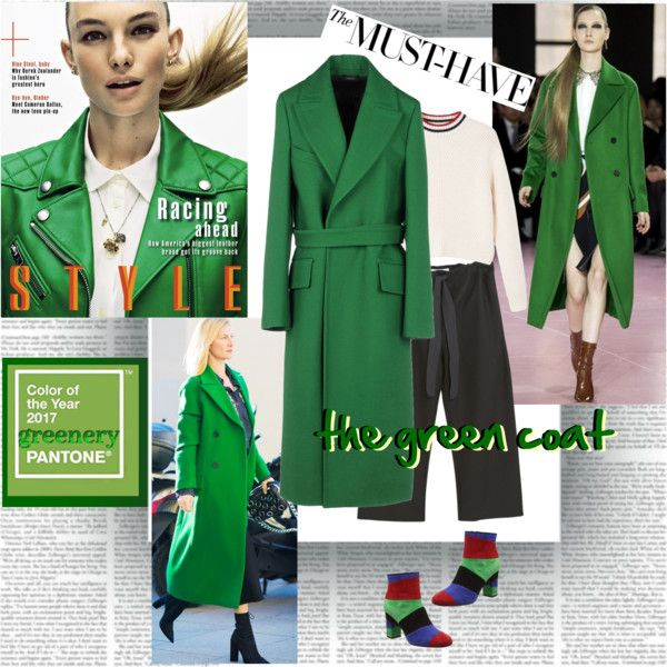Pantone 2017 Greenery by stylepersonal on Polyvore featuring polyvore, fashion, style, MANGO, Boutique Moschino, Jil Sander, clothing, GREEN, coat and 2017