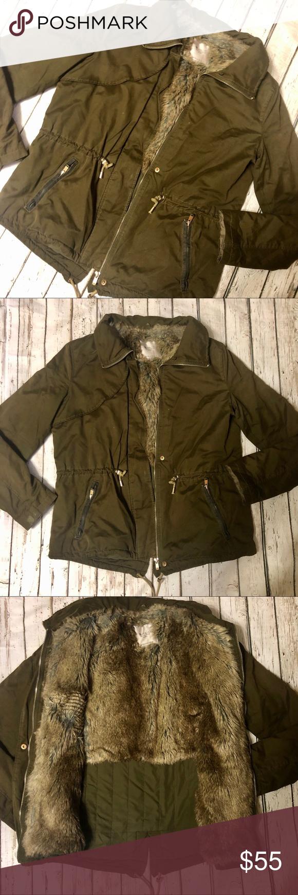Zara Tfl Outerwear Division Jacket Zara Trafaluc Jacket With Faux Fur Lining Olive Green Zip Up Closer Small Hole At The Stitching Zara Jackets Zara Jackets [ 1740 x 580 Pixel ]