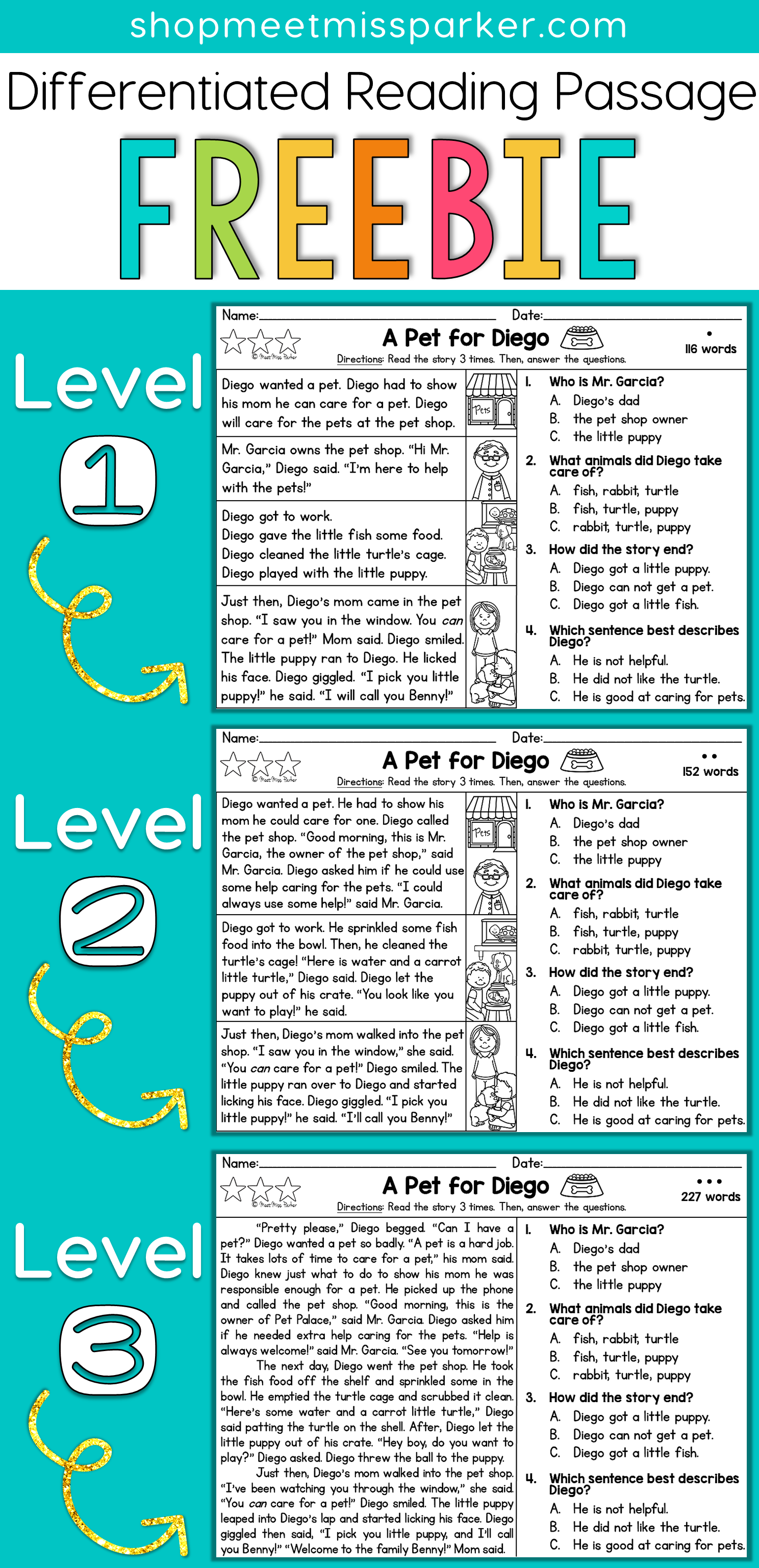 FREE Differentiated Reading Passage for first grade, This free ...