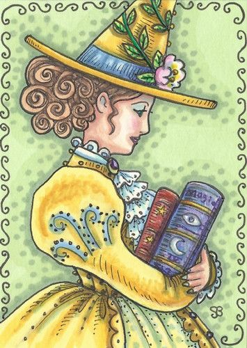 BOOKS OF MAGIC - Victorian Witch is reading up on her Black Magic, Spells and Love Potions.  Just listed her on Ebay.  Susan Brack Original Halloween Hallows Eve Holiday Illustration Art EBSQ ACEO EHAG
