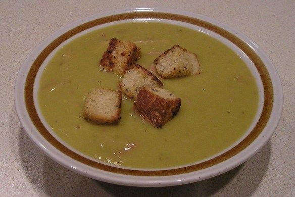 Split Pea Soup with Homemade Croutons | Paths of Wrighteousness