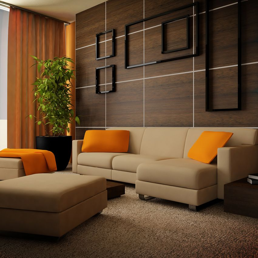 Combina marr n y naranja en tu sala de estar para un - Combina colores en paredes ...