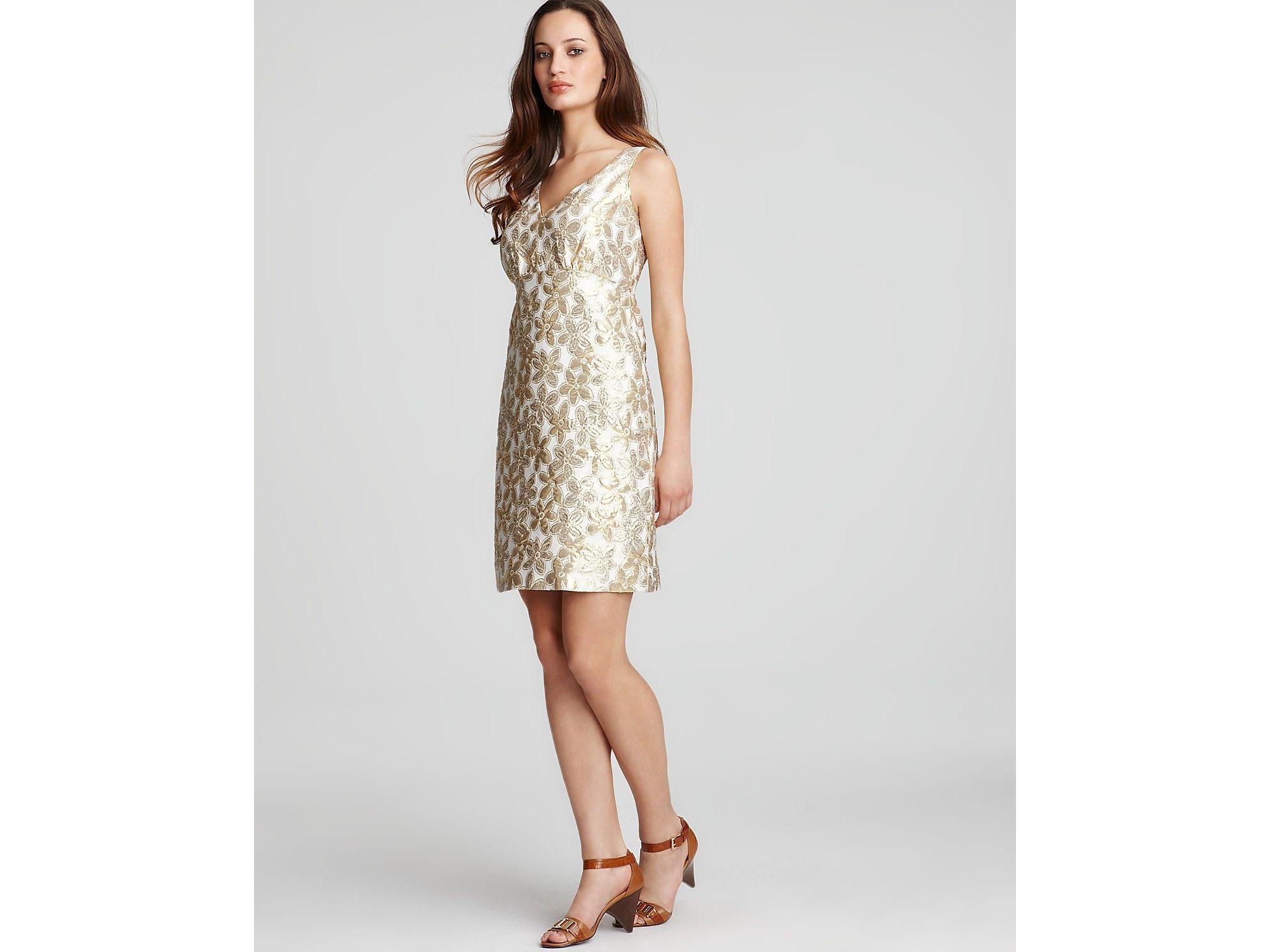 Kate spade new york naomi floral jacquard shimmer dress in natural