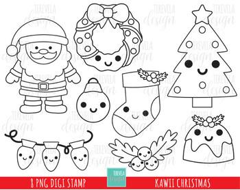 Christmas Digi Stamps 1 95 Kawaii Christmas Christmas Stamps Christmas Coloring Pages