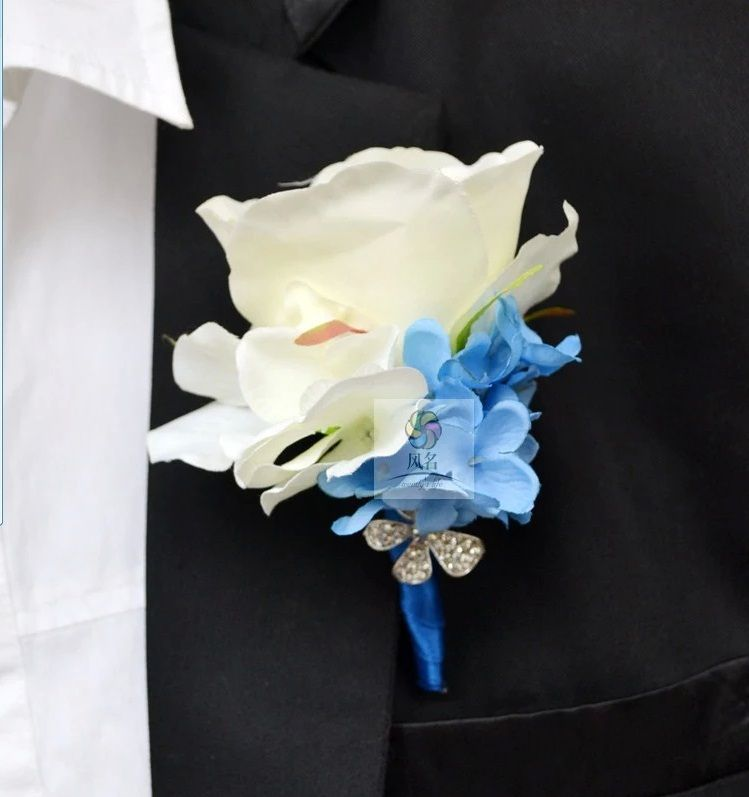 White Garden Rose Boutonniere china post air mail free shipping 10 pcs/lot the groom corsage