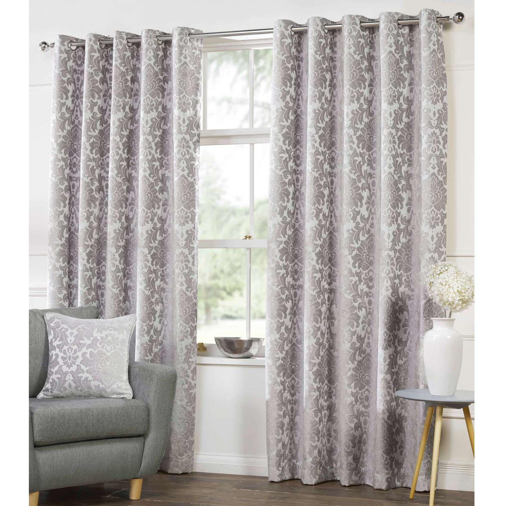 Camden Damask Woven Chenille Lined Eyelet Curtains Silver Silver Curtains Curtain Designs Curtain Design Modern