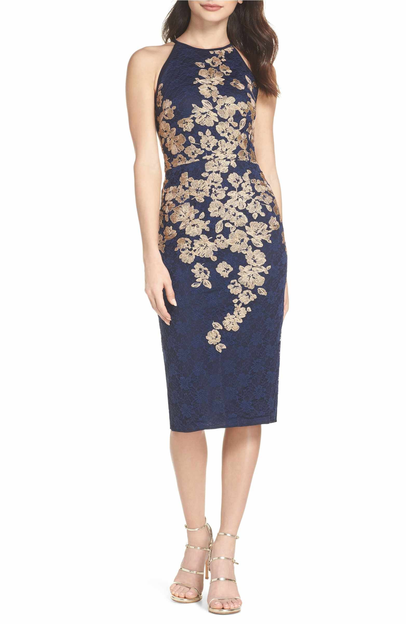 af2f4daa7c1 Main Image - Xscape Embroidered Halter Midi Dress
