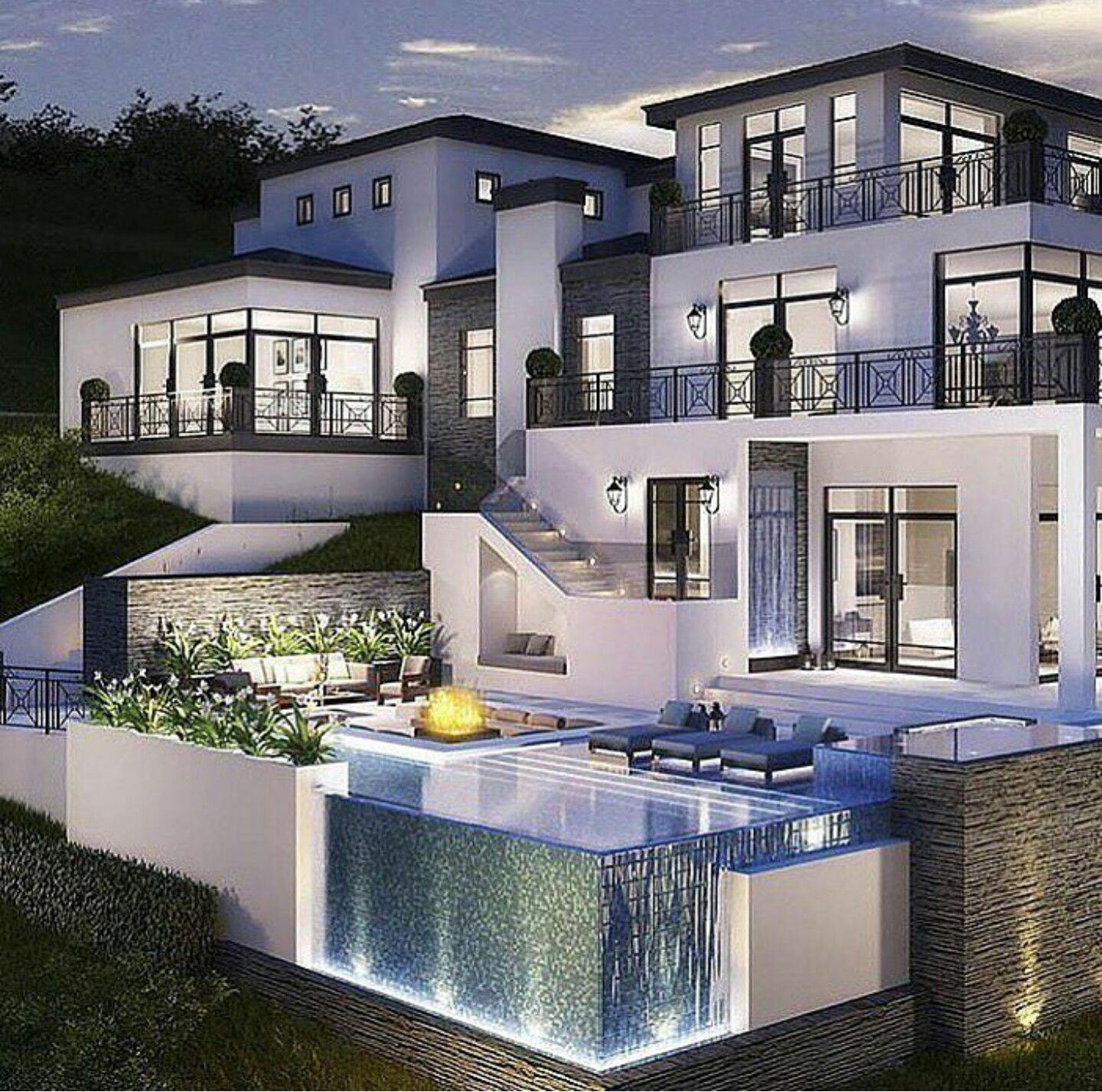 Amazing los angeles hollywood hills mansion with infinity for Images of front view of beautiful modern houses