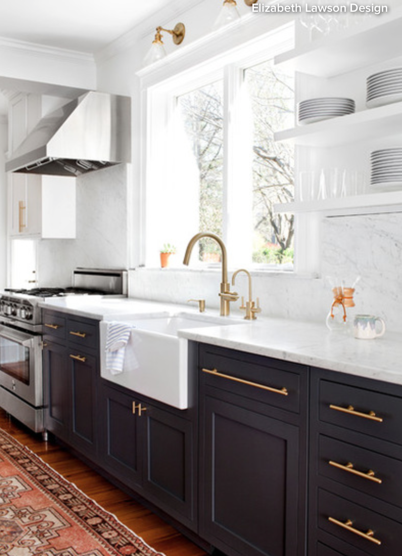 Kitchen With Black Lower Cabinets, White Marble