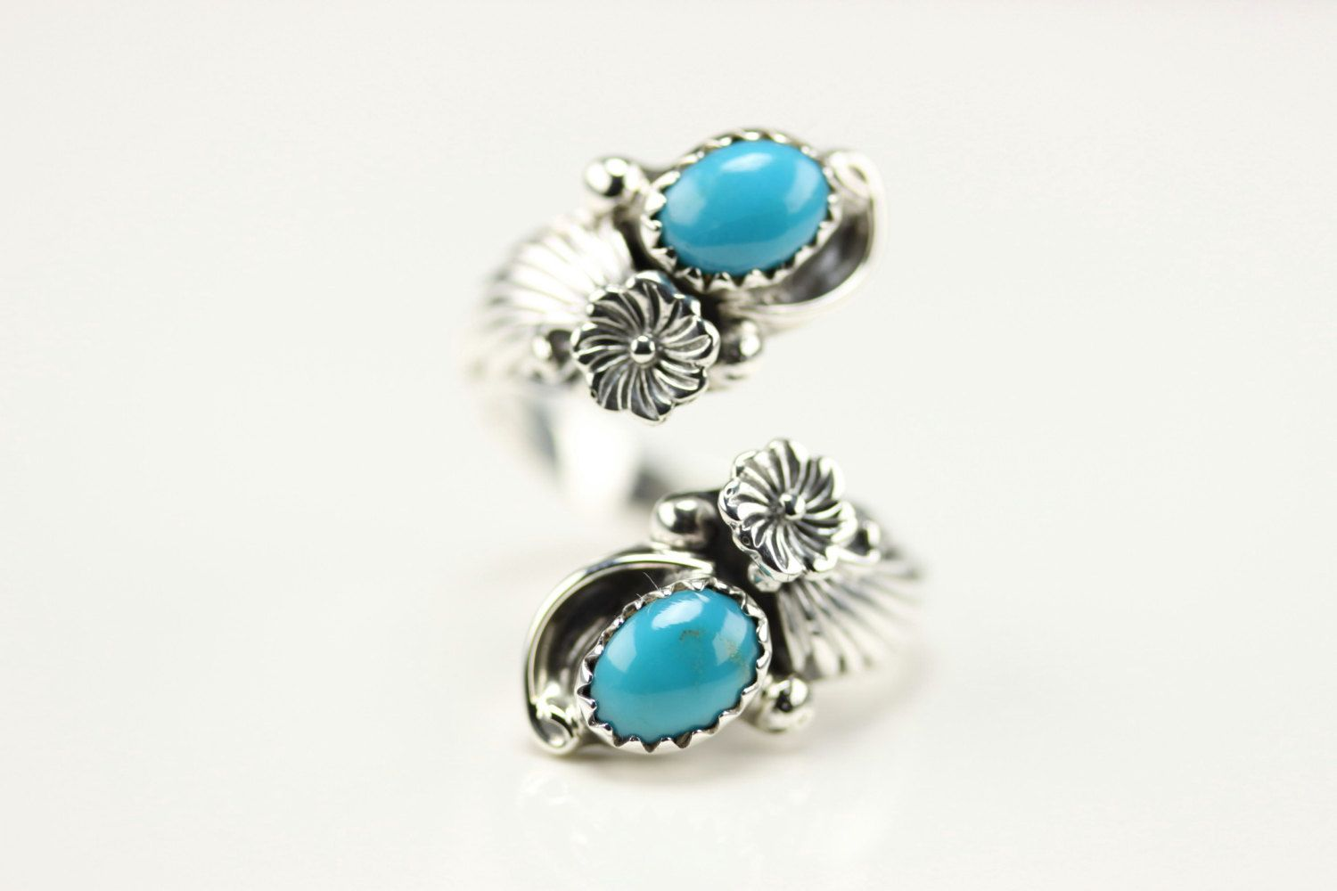 Sterling Silver Navajo Turquoise Adjustable Ring Size 5.5 By Etta Belin by LoudCrowTrading on Etsy