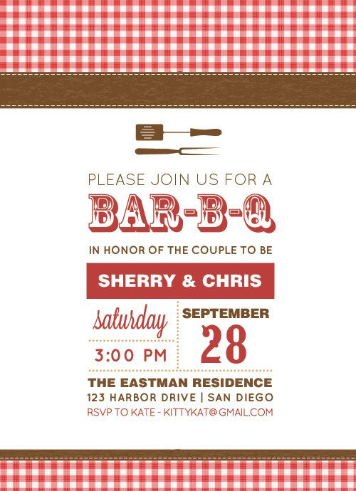 Bbq Invitation  Diy Printable Invitation  Barbecue Invitation