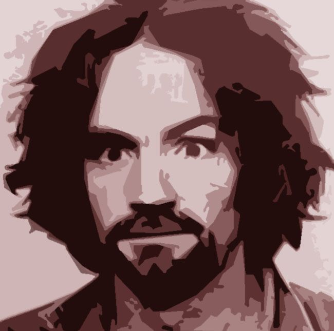 """Charles Manson is the American criminal who led the """"Manson Family"""", a quasi-commune with deviated ex hippie men and women that arose in the California desert in the late 1960s. In 1971 he was found guilty of conspiracy to commit the murders of nine people: actress Sharon Tate was one of their victims. He is considered by many criminologists an """"atypical serial killer"""", a killer by proxy who influenced and manipulated his followers and used them to kill. #charlesmanson #serialkillers #family"""
