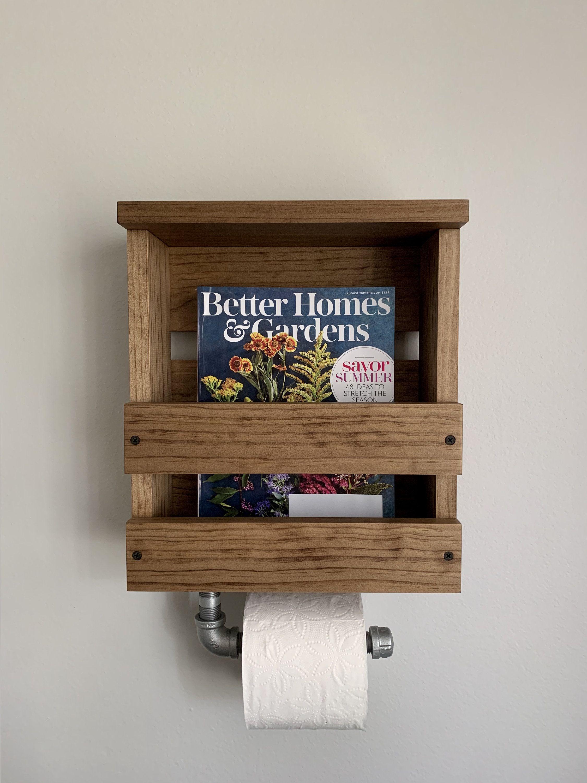 Pin On Etsy Home Decor Wall mounted bathroom magazine rack