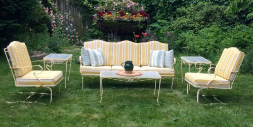 Vintage Woodard Wrought Iron Outdoor Patio Furniture 11 Piece Set In Yellow