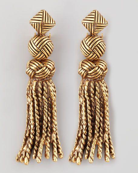 Oscar De La Renta Gold Tassel Earrings Stay Golden Pinterest