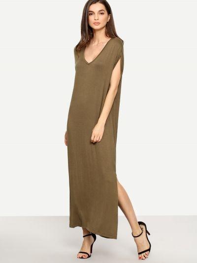 1098d154dfc8 Khaki V Neck Short Sleeve Maxi Dress