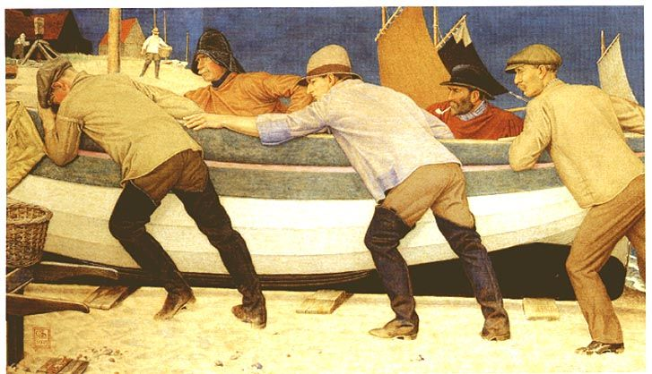Рыбак и лодка Джозеф Эдвард Саутхолл, 1861-1944. 1920 году. Темпера белье, 19 1/3 х 33 1/4 дюйма.