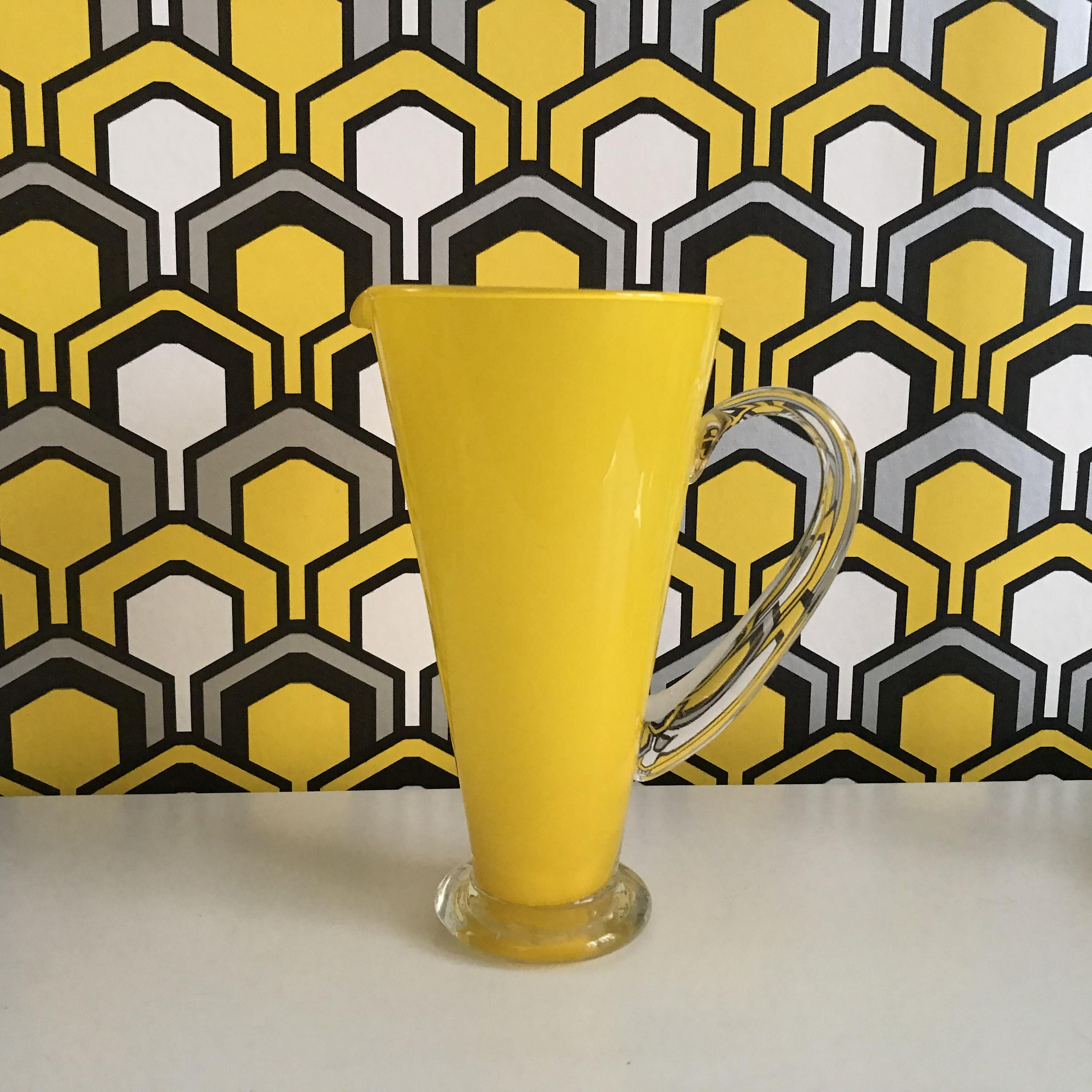 CASED GLASS conicular PITCHER in Yellow and White with