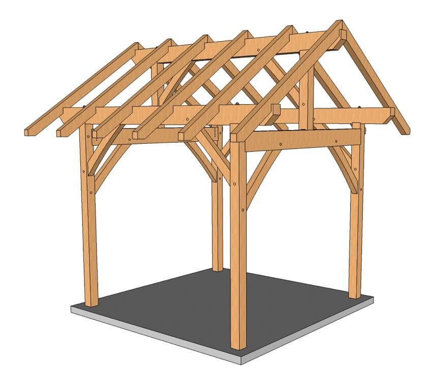 10x10 King Post Post And Beam Plan Timber Frame Hq Timber Frame Post And Beam Timber Frame Plans