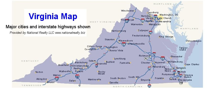 Virginia Cities Map. Map. Free Map USA Images