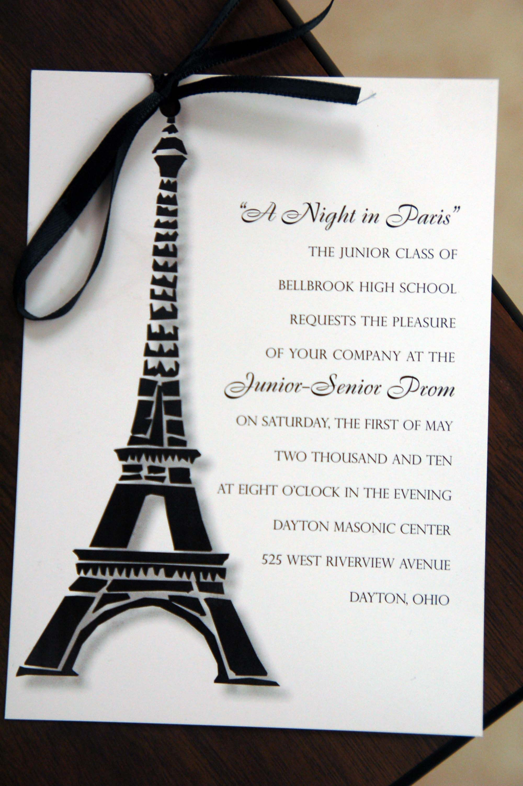 Paris prom invitation | Prom 2014 | Pinterest | Prom, Paris theme ...