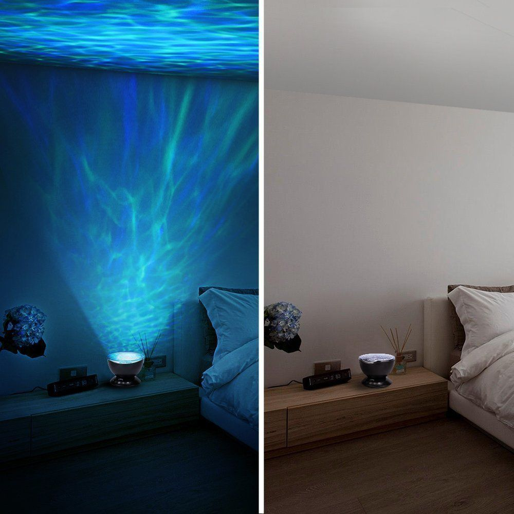 Led ocean wave projector night light with 7 colors light show projection built in soft