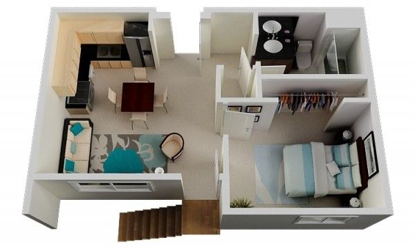 1 Bedroom Apartment House Plans One Bedroom Apartment Apartment Plans 1 Bedroom Apartment