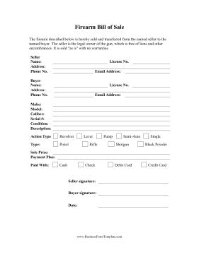 print bill of sale form