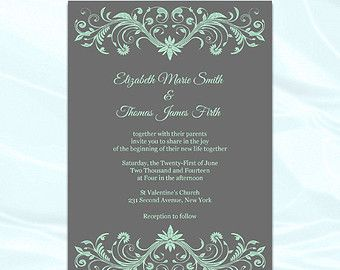 Diy Mint Green And Gray Wedding Invitations Templates Printable