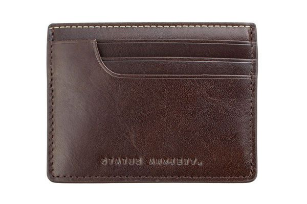 Issac Wallet Leather Credit Case Slim Case in Chocolate by Status Anxiety