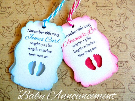 CUSTOM Birth Announcement Favor Tags  Boy or Girl by JDPaperie, $8.30  Use a favor tag as a photo prop