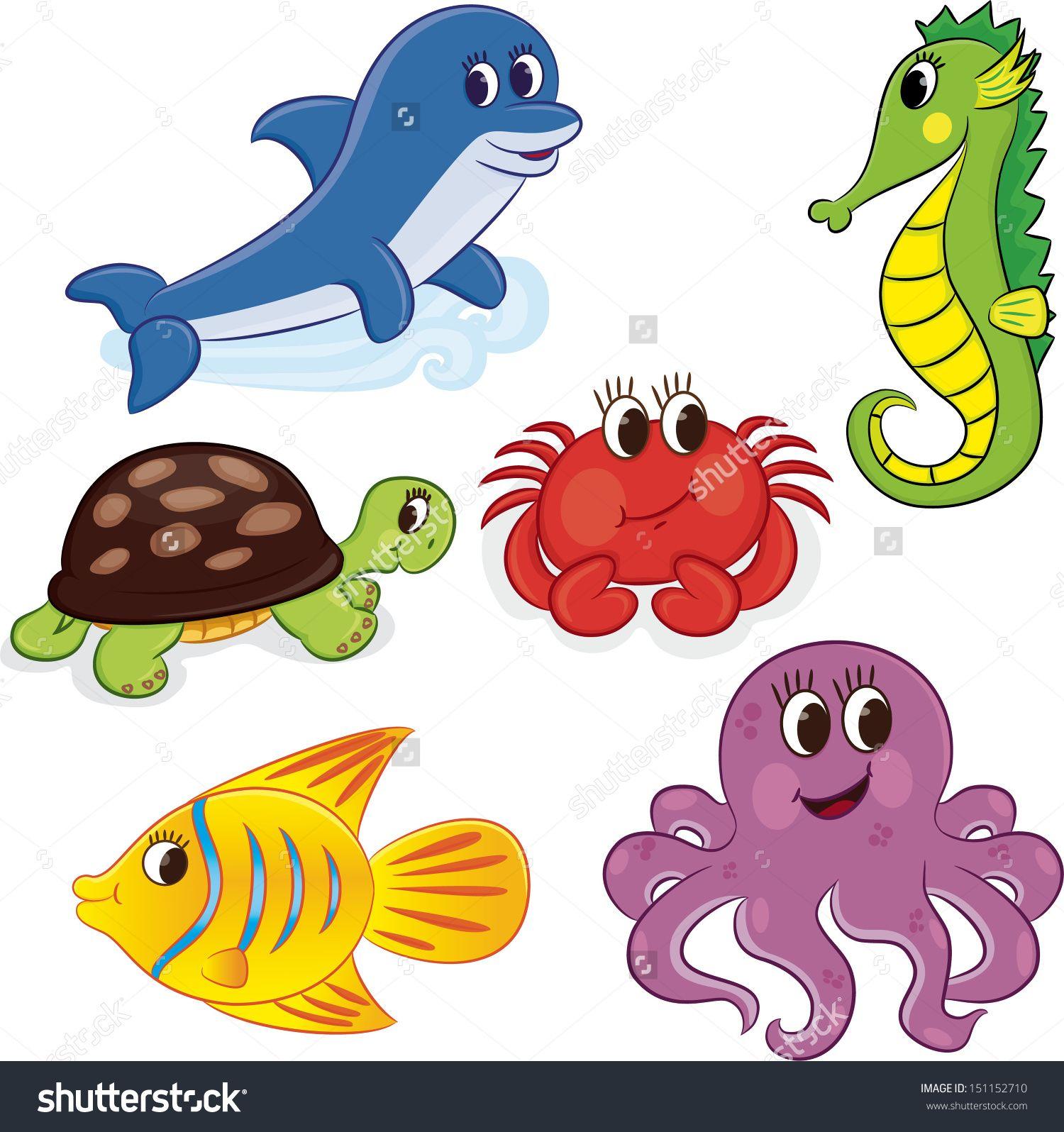Summer beach scene vector stock vector colourbox - Set Of Cartoon Sea Vector Illustration Stock Vector Clipart