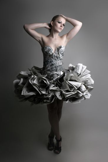 Dress of newspapers. Photo by Cindy Wesselman
