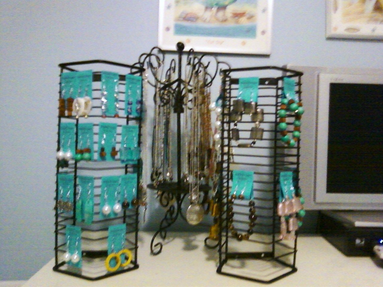Store displays for my jewelry. Wire CD racks from thrift store (one ...
