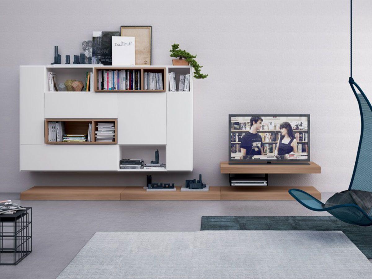 Soggiorno moderno bianco opaco con porta TV finitura olmo